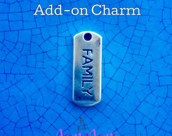 Family Charm, Silver Stamped Charm, Cute Charms, Bracelet Charms, DIY Charm Bracelet, Jewelry for Moms, Accent Charms