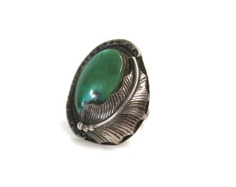 Vintage 925 Sterling Silver & Green Turquoise Old Pawn Dead Pawn Native American Ring - Size 8