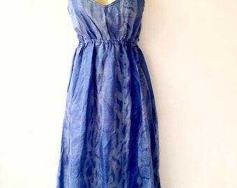 Silk Summer Dress made from Re-Purposed Silk Saris from India // Blue Dress // Medium dress // summer dress  / boho summer / beach dresses