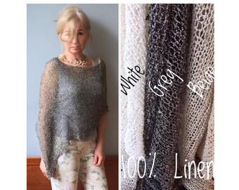 Knit poncho Boucle Linen poncho 4 colors Knit crop top Organic Knit tank top Natural poncho Linen tank top Natural top Linen poncho Organic