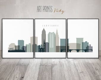 Set of 3 prints Cleveland art skyline, 3 pieces wall art, travel posters, housewarming, travel decor gift, large wall art,ArtPrintsVicky