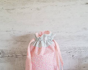 Knitting Project Bag, Floral Drawstring Bag, Sewing Project Bag, Gift Bag, Travel Bag, Storage Basket, Resuable Gift Bag, Mothers Day Gift.