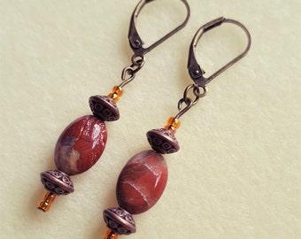 Red Jasper & Bronze Earrings
