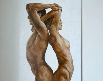 Nude Couple Painting Art Original Portrait Canvas Erotic Nude Man Woman Lovers Large Painting Female Nude Erotic Nude Acrylic Figure