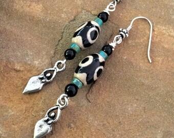 Earrings/Boho/Tribal/Rustic/Greek/Agate     Gemstone/Turquoise/Onyx/Charm/Silver   Dangle/Drop