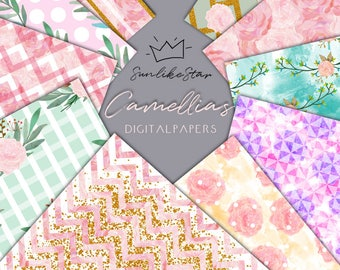 Pink Flower Digital Paper Pack: Scrapbook Paper, Instant Download, scrapbooking, digital background, pink flowers | 12x12, diy, wedding 035