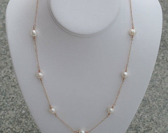 White Pearl Rose Gold Station Necklace - Rose Gold Filled Chain with Ivory White Freshwater Pearls