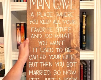 Man cave sign, man cave, gifts for husband, man cave decor, gifts for groom, bachelor pad decor, bachelor pad gift, housewarming gift