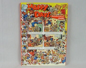 1975 Happy Days One Hundred Years of Comics - Denis Gifford - Vintage Book - 1970s Comic Books History UK British