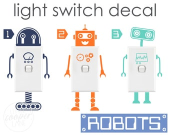 Robots Light Switch Decals | Vinyl Wall Decal Sticker | Very Cute | For Boys Nursery OR Baby / Kids Room_ID#1327