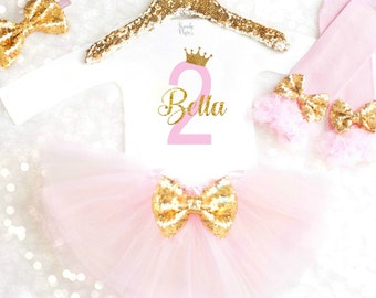Second Birthday Outfit Personalized 2nd Birthday Outfit 2nd Birthday Dress Pink and Gold Second Birthday Dress Princess Birthday Outfit Tutu