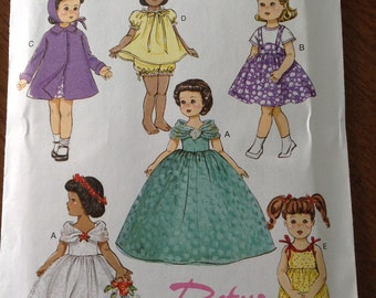 Fifties styles for dolls, Butterick doll clothes, retro '57 doll clothes, ball gown, swing coat, baby doll pajamas, doll romper