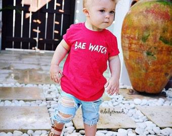 "BOYS ""BAE WATCH""© Shirt / Infant - Kids Size: 3-6m - 12 years) / BaeWatch / Baywatch"