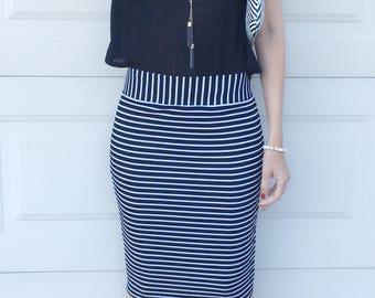 Black White Horizontal Stripe Fitted Pencil Skirt
