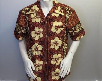 Vintage Hawaiian Aloha Shirt - brown tribal floral pattern Ui Maikai - Mens XL