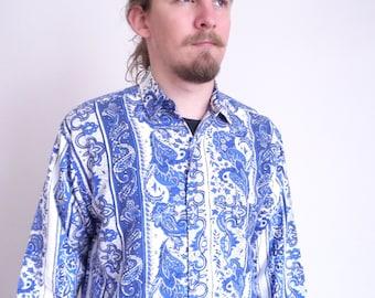 90's shirt Vintage Cowboy Shirt Dark blue Floral Paisley print shirt Long sleeve Prairie Hipster Country Western medium large