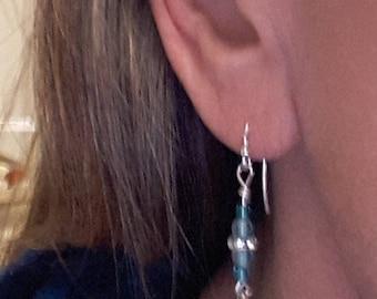 Moon  drop earrings // Earrings for the moon lover //Drum ,Czech and Moon earrings for Her .