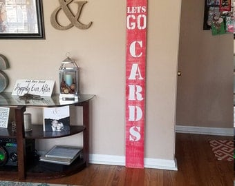 Custom Front Door Sign - BLUES / CARDINAL SIGN, Wood, front door sign, custom vertical sign, front porch, large welcome sign, home decor
