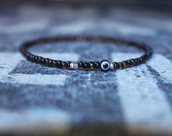 Evil Eye Bracelet, Men's Evil Eye Bracelet, Citrine Gem, Toho bead bracelet, Mens gift for him Husband Gift , Mens Seed Bead