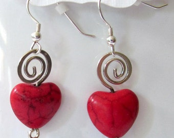 Valentine Romance Jewelry - Red Crackle Glass Heart Jewelry - Dangle Heart Earrings - February Earrings - Heart Awareness Gift