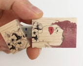 USB Wooden flash drive 8 GB, 16 GB, 32GB, Women with flowers artwork, Back to school gifts, Good gift for co-workers.