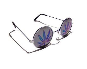 Holographic Pot Leaf Sunglasses, Lennon Style Retro 420 Sunglasses