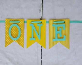 Aqua and Yellow One Banner,Blue & Yellow Happy Birthday Banner,Cake Smash Banner,Aqua I am 1 Banner,Aqua High Chair Banner