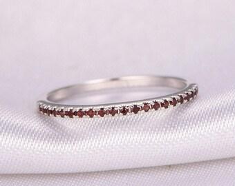 Garnet Wedding Ring Half Eternity Red Garnet Ring Anniversary Ring 14k White Gold Matching Band Infinity Ring Garnet Wedding Band Stackable