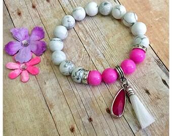 Beaded Bracelet, Gemstone Bracelet, Boho Bracelet, Pink Bracelet, Tassel Bracelet, Tassel Jewelry, Charm Bracelet, Stretch Bracelet