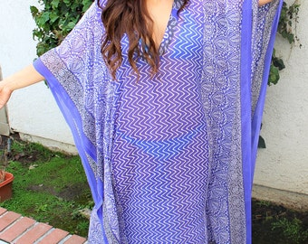 Printed Beach coverup, Swimsuit Coverups, Beach cover up, blue kaftan, Beach Cover-up, Handmade, Honeymoon, Vacation, Resort, beach Tunic