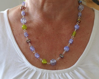Glass Pearl Necklace purple, green