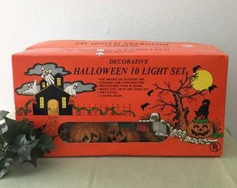 Vintage String Halloween Jack O'Lantern Lights