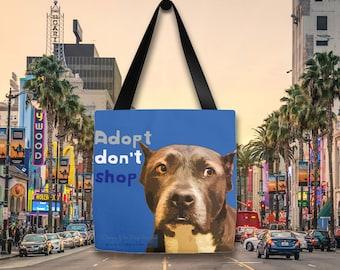 Dog CHARITY tote bag, Dog tote bag, Adopt don't shop, adopt a pet, fashion tote bag, fancy tote bag, dog lover tote bag