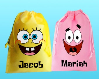 """SpongeBob Party-10 Personalized Favor Bags, SpongeBobThemed Party, Drawstring Bags 6.5"""" x 9"""" inches"""