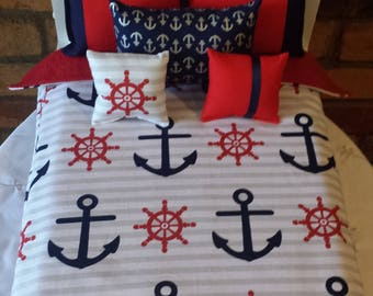 """Handmade -6-PC-bedding set Nautical Theme for American girl doll or any 18"""" dolls bed"""