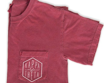 Kappa Alpha Theta T-Shirt, Kappa Alpha Theta Pocket Tee, Theta Sorority Shirt, Sorority Comfort Colors Shirt, Big Little Sorority Gifts