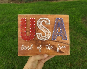 USA String Art Letters land of the free *Made-to-Order*