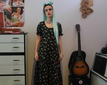 Vintage 1970's Green & Pink Floral Maxi Dress (Size 10 (UK))