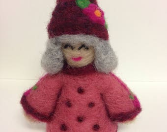 Needle Felted Wool Gnome, Cranberry