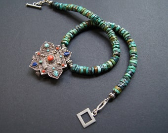 Vintage Tibetan Buddhist Gau and Turquoise Necklace