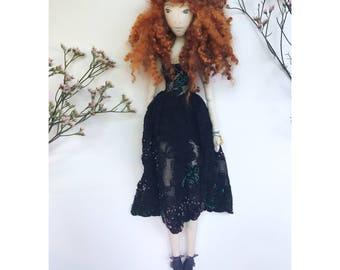 MATILDA Collectible Handmade Fabric Art Doll OOAK Textile Vintage Sculpture