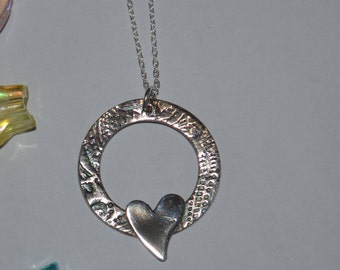 Mothers day Silver Heart Necklace, Handmade silver necklace with paisley pattern and plain heart, mothers day gifts, bridesmaids gifts
