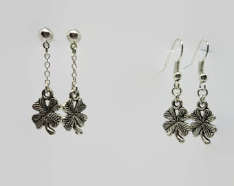 Four 3.5 - Silver - Leaf Clover earrings cm