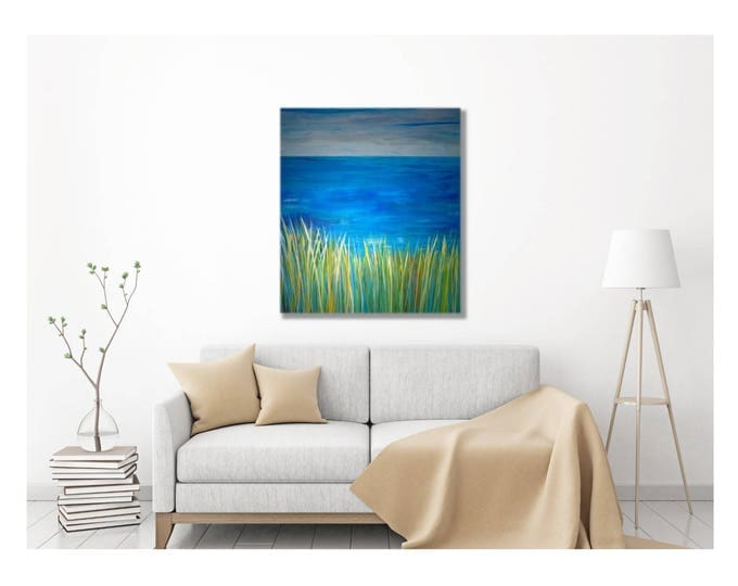 Coastal Wall Art -- Canvas Wrap Painting, Multiple Sizes, beach art print, artwork for beach house, art decor, lake house decor, ocean art