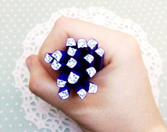 5pc Dark Blue Hello Kitty Fimo Cane 50mm Assorted Clay Mini Cabochon Kawaii Nail Art Decoden Craft DIY