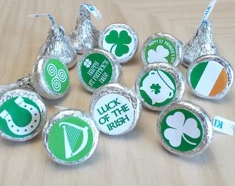 Printable St Patricks Day Irish Symbols Chocolate Kisses Stickers Labels; (non-editable) PDF, Instant Download
