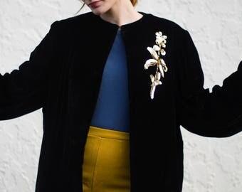 1940s Coat / Black Velvet & Gold Sequin Applique / Evening Coat / Balloon Sleeves / Vintage 40s