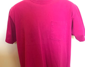 80s Russell Athletic Pocket Shirt Vintage Tee Pink Red Crew Neck Plain Everyday Retro Classic Made In USA 100% Cotton Soft Warm Comfy Large