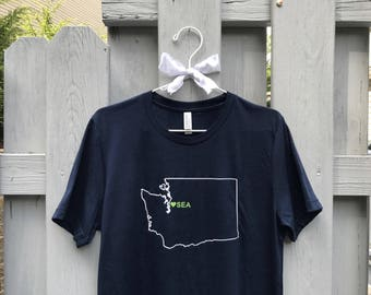 Seattle Love Blue and Green Tee
