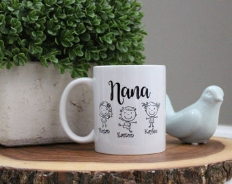 Nana's Personalized Custom Coffee Mug Cup Gift, Quick Shipping